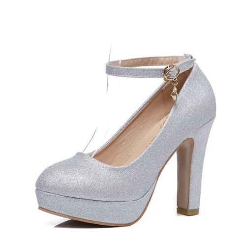 Silver Wedding Shoes With Belt