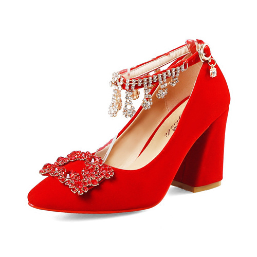 Red Wedding Party Shoes With Crystal