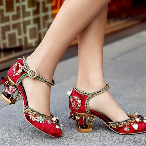 Red Wedding Party Shoes With Nice Embellishments